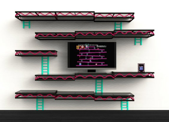 Man Cave Shelves : Videogame themed man cave gentlemint