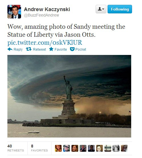 Is Twitter Wrong? • Is that really a picture of Hurricane Sandy descending on New York?