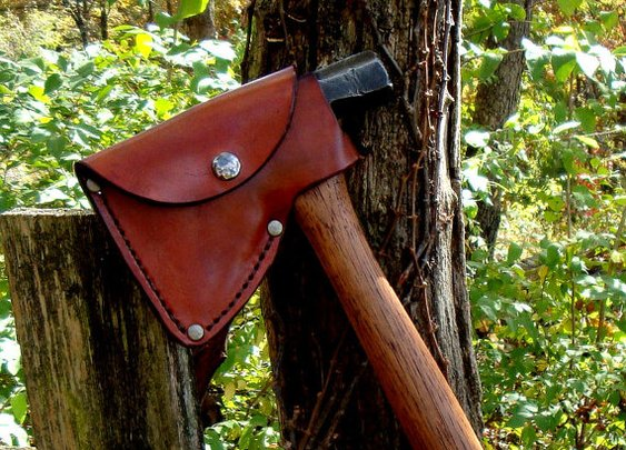 Custom Handcrafted Leather Hatchet or Axe by arcadiancraftsman