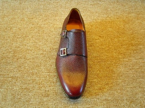 Burgundy Country Grain Calf Double Buckle Monk Strap Shoe