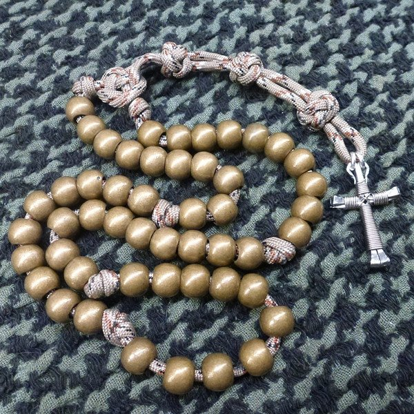 Military Rosary hand crafted with paracord, beads, and horseshoe nails.