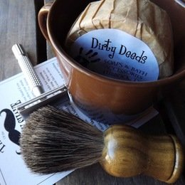 Dirty Deeds Soaps & Bath Accessories - Handmade Soaps of Lubbock / Brown Shaving Mug Set, Badger Brush & Razor