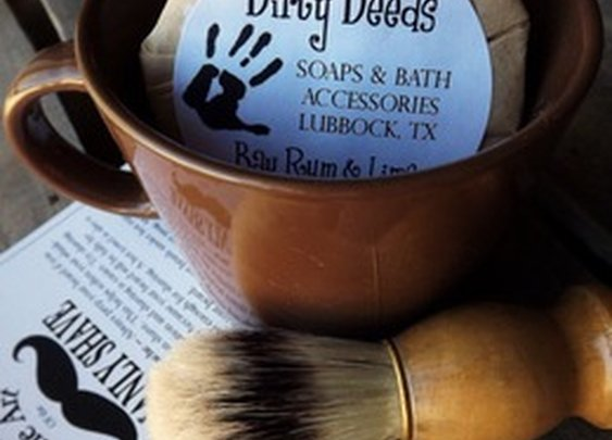 Dirty Deeds Soaps & Bath Accessories - Handmade Soaps of Lubbock / Shaving Mug Set, Boar Brush
