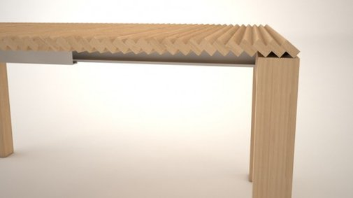 Extendable table shrinks and grows without requiring leaves