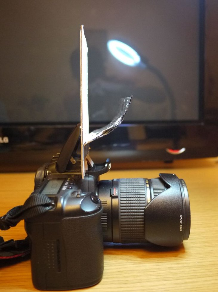Light bouncer for SLRs internal flash: Simple and effective