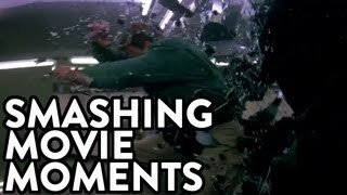 Video of movie characters smashing through glass
