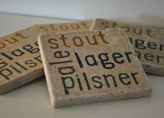 Beer Lover Natural Stone Coasters ale pilsner by frecklesonme