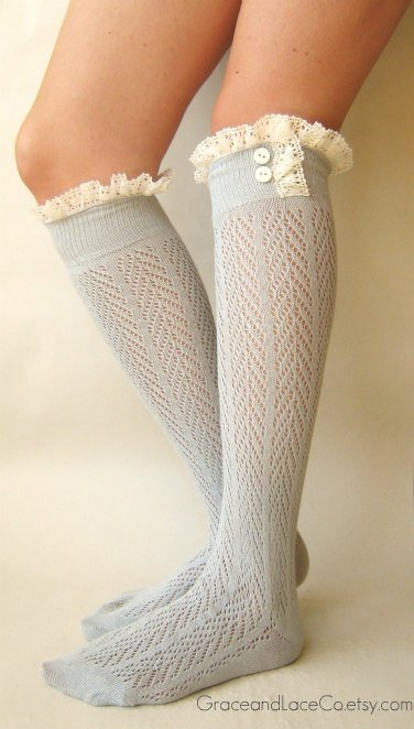 Lacey Sock  Dove Grey boot socks  openknit socks by GraceandLaceCo