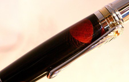 Wood pen in Art Deco setting with blackwood by Hope & Grace Pens