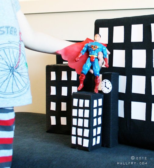 Homemade city playset for action figures