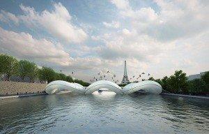In both air and water-trampoline bridge in Paris