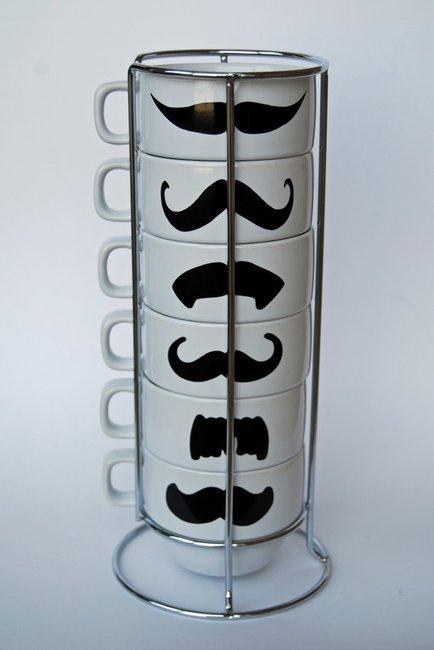 White Mustache Coffee Mugs