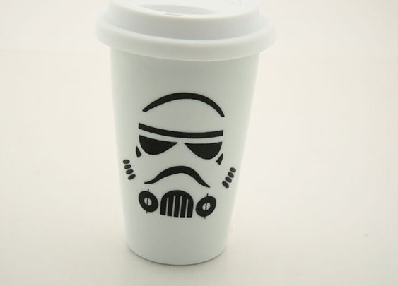 Star wars R Storm Trooper Travel Mug Double Walled by LennyMud