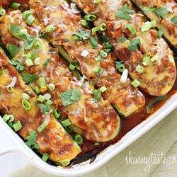 Chicken Enchilada Stuffed Zucchini Boats — Punchfork