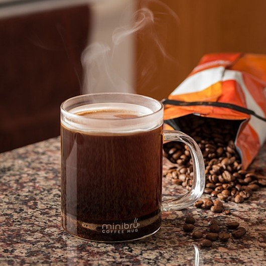 minibru makes single-serving French press coffee, in the mug