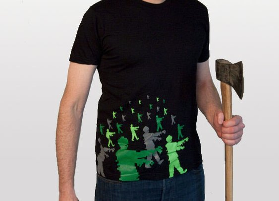 Zombie Attack men's tshirt size Medium by blackbirdandpeacock
