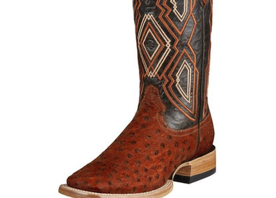Ariat Men's Nitro Full Quill Ostrich Boot - Rusty FQ Ostrich/Charcoal Glaze