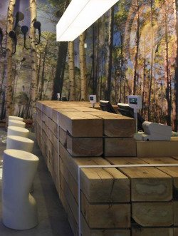 Store Counter Constructed With Reclaimed Railroad Ties