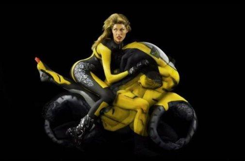Painted Women Yoga Experts Pose As Motor Bikes