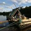 Build your own log raft and float down the river Klarälven in Sweden