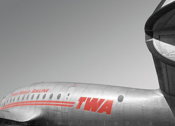 Vintage Airplane Art TWA Constellation 8x12 by MurrayBolesta
