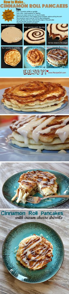 How to make cinnamon roll pancakes.