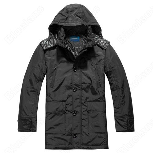 Mens Casual Loose Warm Hooded Single-Breasted Pockets Zipper Outwear Trench Coat Jacket