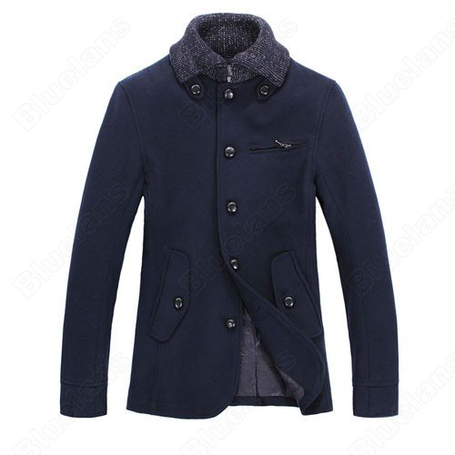 Mens British Style Vintage Fashion Lapel Single-Breasted Buckles Zip Pocket Slim Wool Coat Jacket Outwear