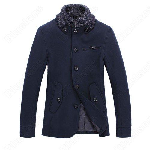 Mens British Style Vintage Fashion Lapel Single-Breasted Buckles Zip Pocket Slim Wool Coat Jacket Outwear
