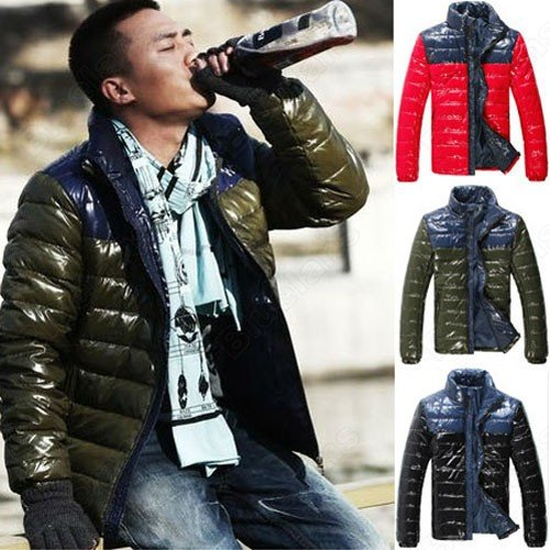 Mens Celebrities Shinning Stand Collar Slim Thicken Zip Outwear Cotton Padded Coat Jacket