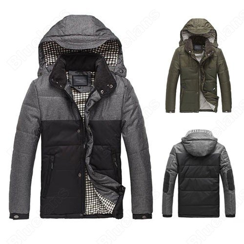 Mens Warm Hooded Zipper Snap Pockets Cotton Padded Fashion Outwear Winter Coat Jacket