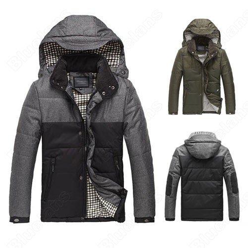 Mens Warm Hooded Zipper Snap Pockets Cotton Padded Fashion Outwear Winter Coat Jacket