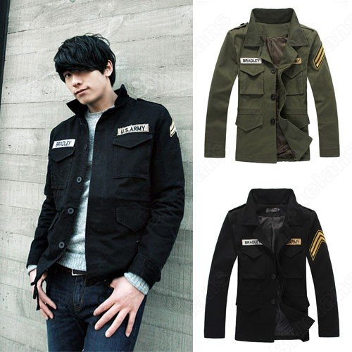 Korean Thickend Mens Army Style Stand Collar Cool Fashion Single-Breasted Pockets Outwear Coat Jacket
