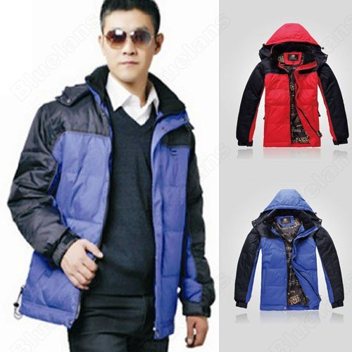 Mens Casual Hooded Zipper Snap Pockets Strings Cotton Padded Polyester Outwear Coat Jacket