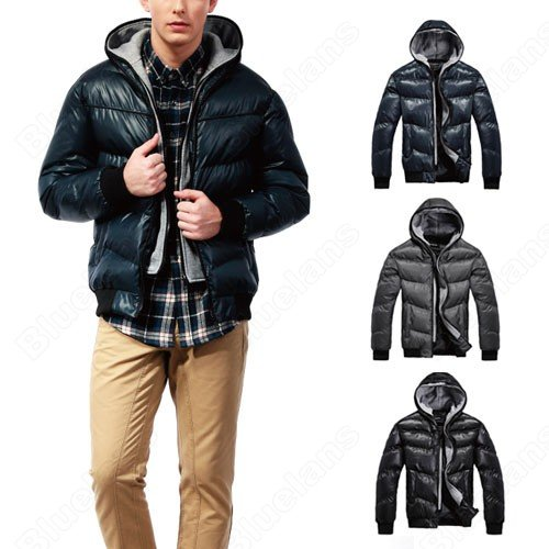 Korean Mens Thin Cotton Padded Hooed Slim Short Pockets Zip Polyester Casual Fashion Outwear Coat Jacket
