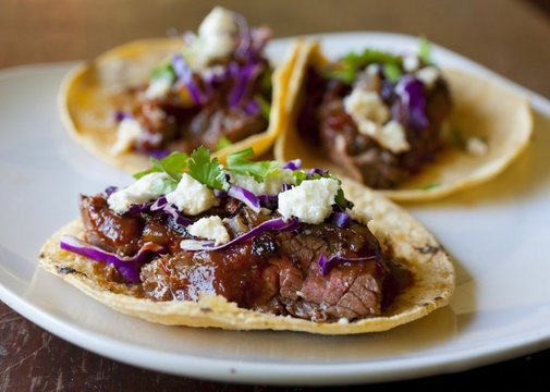Steak Tacos with Chipotle Cherry Salsa and Caramelized Onions | partial-ingredients