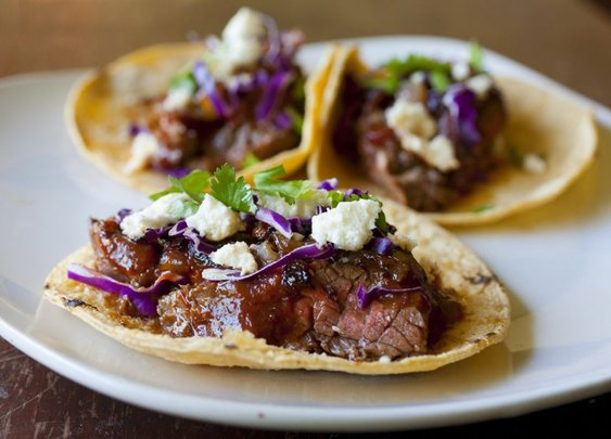 Steak Tacos with Chipotle Cherry Salsa and Caramelized Onions   partial-ingredients