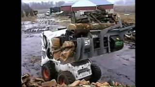 Wood Cutting & Splitting Attachment for Bobcat loaders / Skid steer loaders - YouTube
