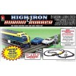 Combine slot car set with a model railway - life like high iron and burnin rubber