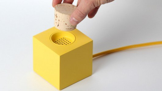 Plugg radio switches on and off with a cork