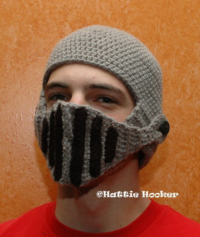 Hand Crocheted Knight Helmet Hat With Button-On Movable Visor