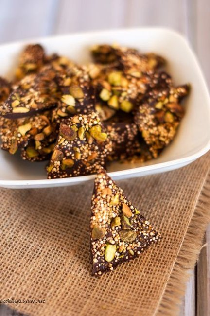 Salted Quinoa Chocolate Bark with Pistachios - Cooking Quinoa