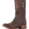Corral Men's Distressed Chocolate Cognac Inlay Winged Cross Boot - A1978