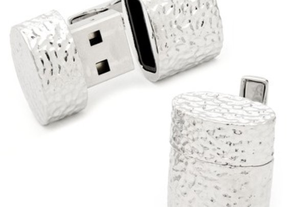 Ravi Ratan Hammered Silver Oval USB Cufflinks (4GB) | Wayfair