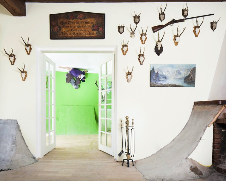 Skateboard art interior in Austria