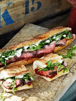 Food  / Rare roast beef baguettes with roast tomato and currant chutney
