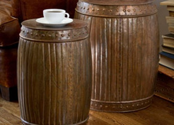 Set of 2 Steel Fluted Round Barrels (India) | Overstock.com