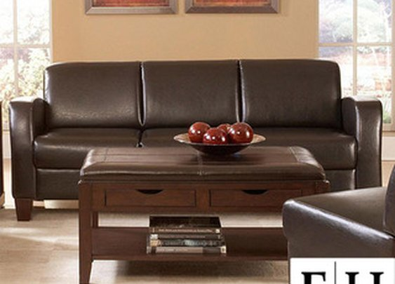 Clove Bi-cast Vinyl Sloped Arms Sofa | Overstock.com