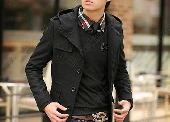 Men Fashion Slim Fit Woolen Trench Coat Jacket Overcoat