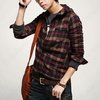 Korean Stylish Men Casual Check Slim Fit Dress Shirt Hoodie Hoody Hat Red Plaid